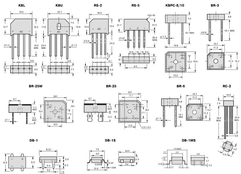 Типы корпусов диодных мостов